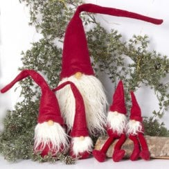Speedtsberg Carl Felt Gnome with Beard - MEDIUM Red/White H46cm