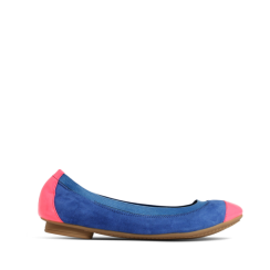 Stylesnob Eva Ballerina - Dusty Blue and Neon Coral