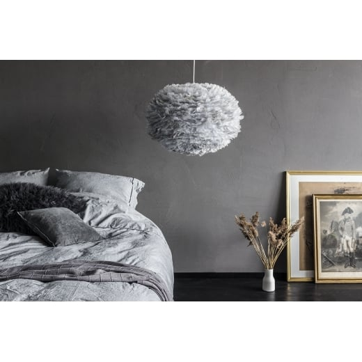Umage Lighting EOS Large Light Grey Feather Lampshade - D65cm