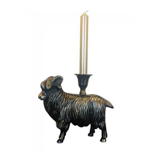 Vanilla Fly Antique Brass Candle Holder - Sheep