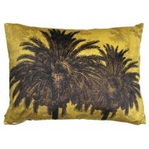 Vanilla Fly Big Mustard Palm Tree Cushion