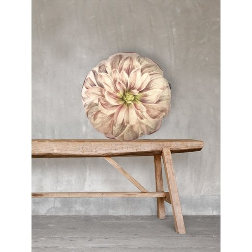 Vanilla Fly Dahlia Coral Rose Velvet Cushion with Piping D46cm (Including Deluxe Filling)