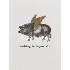 Vanilla Fly Flying Pig Card with Glitter