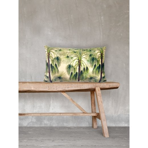 Vanilla Fly Green Palms Velvet Cushion 30 x 50cm (Including Deluxe Filling)