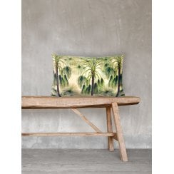 Vanilla Fly Green Palms Velvet Cushion 30 x 50cm (Including Deluxe Filling)