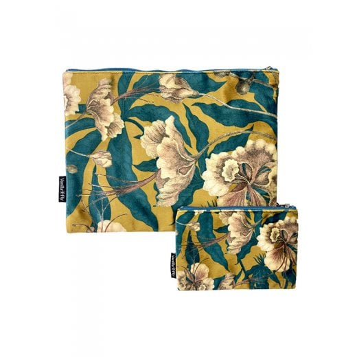 Vanilla Fly Make Up Bag and Pouch- Flowers and Leaves - Multicolour