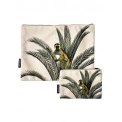 Vanilla Fly Make Up Bag and Pouch- Monkey In Palm- Multicolour