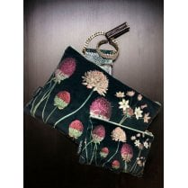 Vanilla Fly Make up Bag & Pouch with Allium on Black