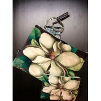 Vanilla Fly Make up Bag & Pouch with Cream Flower and Leaves