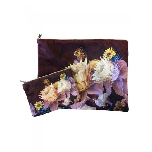 Vanilla Fly Make up Bag & Pouch with Lion & Flowers