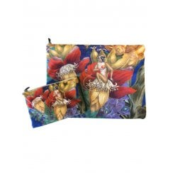 Vanilla Fly Make up Bag & Pouch with Monkeys & Flowers - Blue