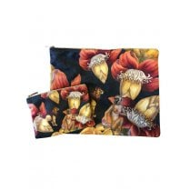 Vanilla Fly Make up Bag & Pouch with Monkeys & Flowers - Navy