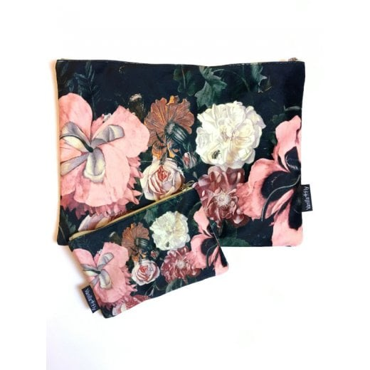 Vanilla Fly Make up Bag & Pouch with Multi Colour Flowers and Black Background