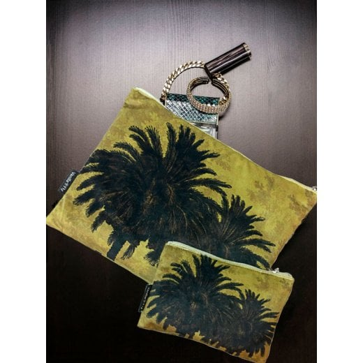 Vanilla Fly Make up Bag & Pouch with Mustard Palm