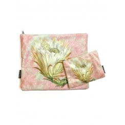 Vanilla Fly Make up Bag & Pouch with Orange Flower and Green Stem