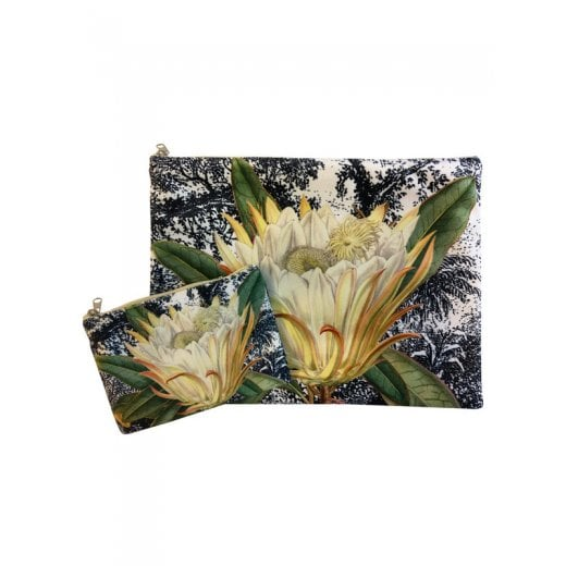 Vanilla Fly Make up Bag & Pouch with Orange Flower