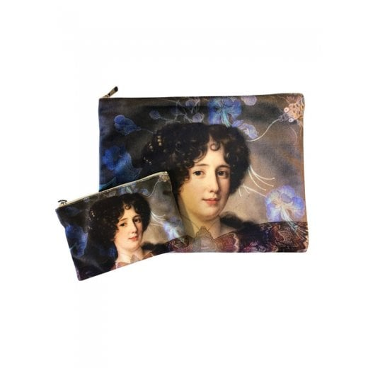 Vanilla Fly Make up Bag & Pouch with Painted Lady & Flowers