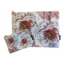 Vanilla Fly Make up Bag & Pouch with Pink Flowers and Background Scales