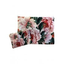 Vanilla Fly Make up Bag & Pouch with Pink Flowers and Green Leaves