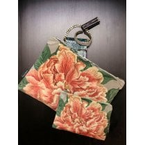 Vanilla Fly Make up Bag & Pouch with Pink Open Flower