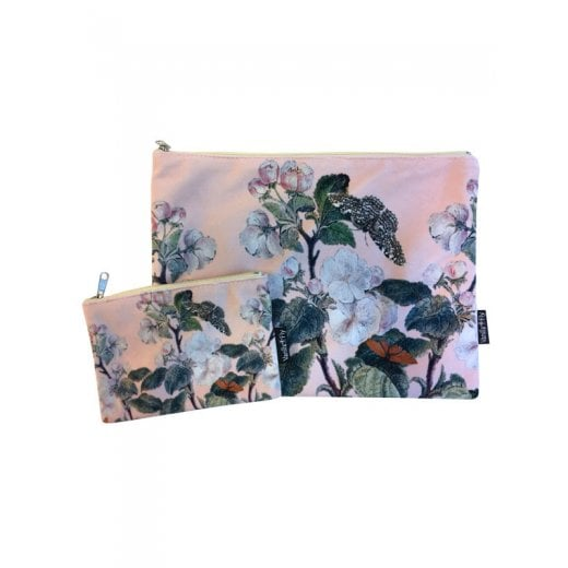Vanilla Fly Make up Bag & Pouch with White Branched Flowers