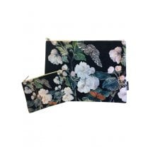 Vanilla Fly Make up Bag & Pouch with White Flowers and Bulbs with Branches