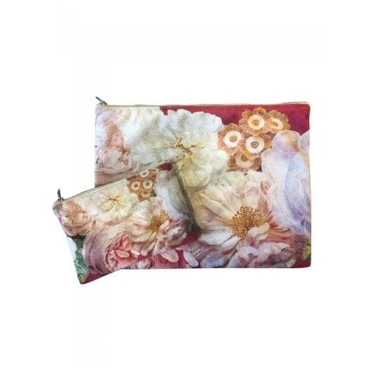 Vanilla Fly Make up Bag & Pouch with White Flowers