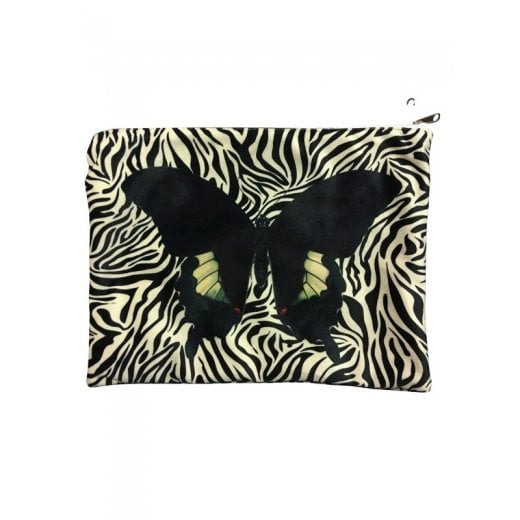 Vanilla Fly Make up Bag with Butterfly and Zebra Pattern