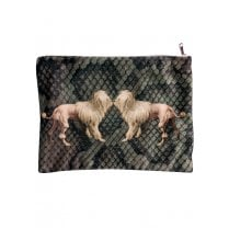 Vanilla Fly Make up Bag with Dogs and Snake Skin Print
