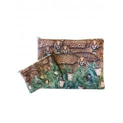 Vanilla Fly Make up Bag with Leopards and Jungle