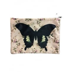 Vanilla Fly Makeup Bag with Blue Butterfly