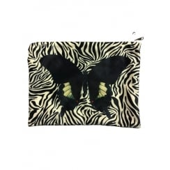 Vanilla Fly Makeup Bag with Butterfly and Zebra Pattern