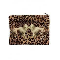 Vanilla Fly Makeup Bag with Dogs and Leopard Print