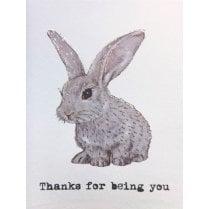 Vanilla Fly Rabbit Thanks Card
