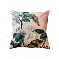 Vanilla Fly Velvet Cushion - Appleblossom