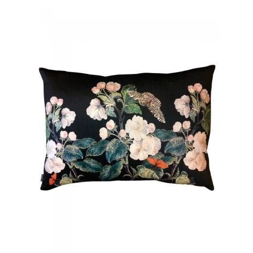 Vanilla Fly Velvet Cushion - Black Appleblossom