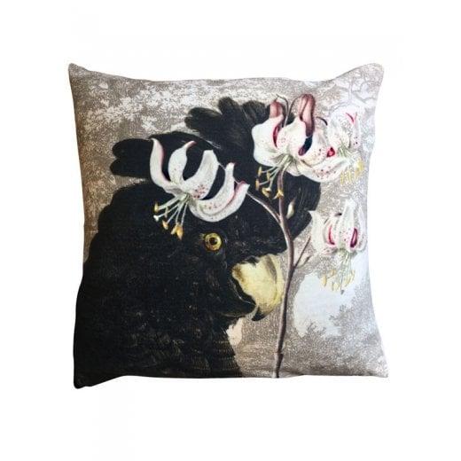 Vanilla Fly Velvet Cushion - Black Parrot