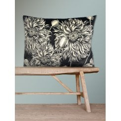 Vanilla Fly Velvet Cushion - Black Poppy 50x70cm (Including Deluxe Filling)