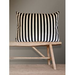Vanilla Fly Velvet Cushion - Black Stripe 50x70cm (Including Deluxe Filling)