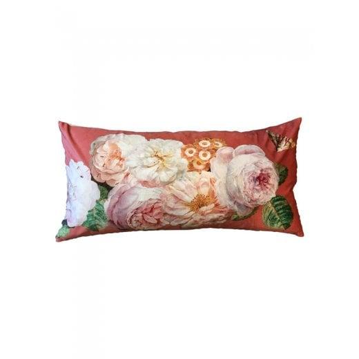 Vanilla Fly Velvet Cushion - Coral Rose