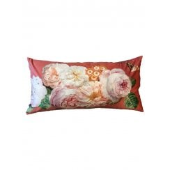 Vanilla Fly Velvet Cushion - Coral Rose