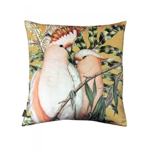 Vanilla Fly Velvet Cushion - Curry Cockatoo