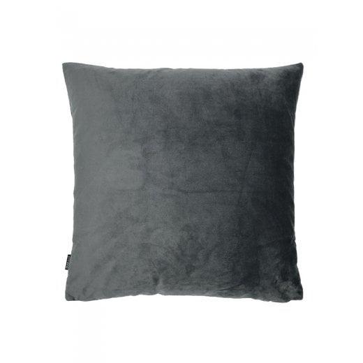 Vanilla Fly Velvet Cushion-Dark Grey 50 x 50cm (Including Deluxe Filling)