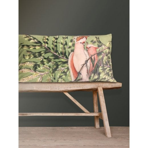 Vanilla Fly Velvet Cushion - Green Bird