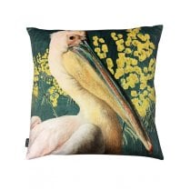 Vanilla Fly Velvet Cushion - Green Pelican