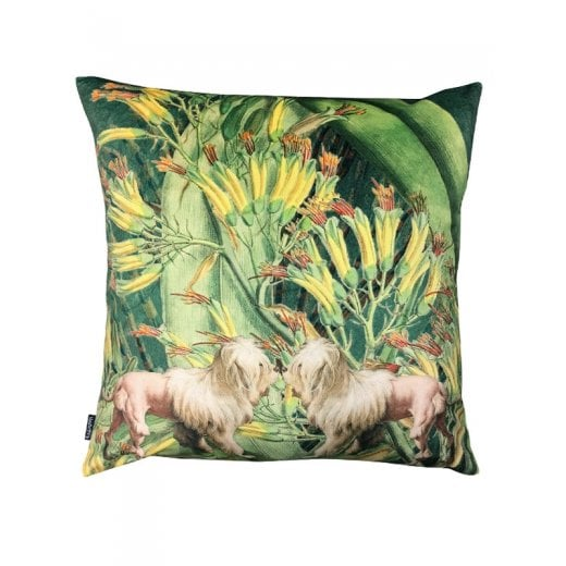 Vanilla Fly Velvet Cushion - Lion Dogs with Jungle