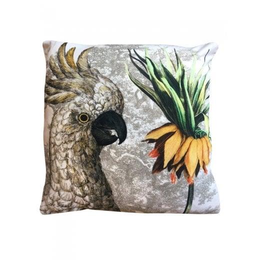 Vanilla Fly Velvet Cushion - Parrot with Flower