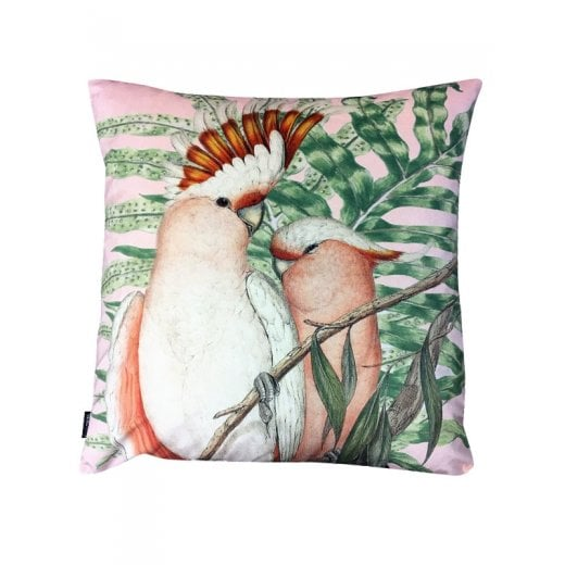 Vanilla Fly Velvet Cushion - Pink Cockatoo