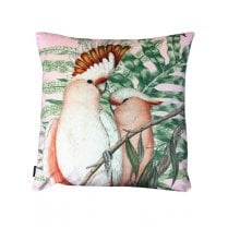 Vanilla Fly Velvet Cushion - Pink Cockatoo