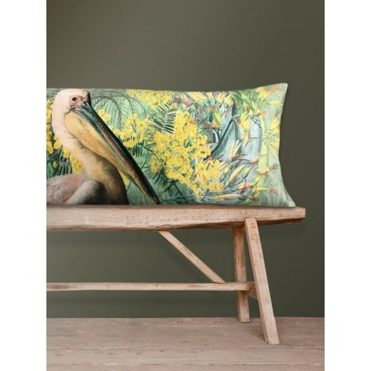 Vanilla Fly Velvet Cushion - Yellow and Green Pelican
